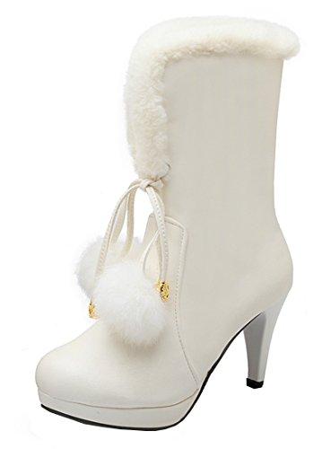 YE Plateau High Heel Stiletto Schnürstiefeletten mit Fell Elegant Fashion 8cm Absatz Warm Gefütterte Herbst Winter Damenstiefel Weiß