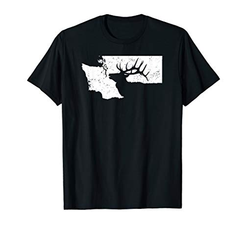 Washington Elk Hunting Shirt - Bull Elk State Shape