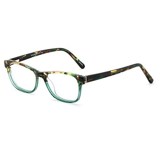 OCCI CHIARI Rectangle Stylish Non-prescription Optical Women Eyewear Frame With Clear Lens (4090-Green(Anti-Blue light))