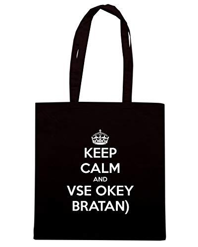 Speed Shirt Borsa Shopper Nera TKC1498 KEEP CALM AND VSE OKEY BRATAN