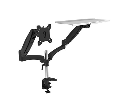 OLLO: Twin Pole Mounted Gas Spring Monitor Mount with Keyboard tray, Snap-on quick Head, +90º/-85º Tilt, 180º Rotation, 0-18 Lbs. Each Arm, Black, Fits Most 15-27' (DP-2XK)