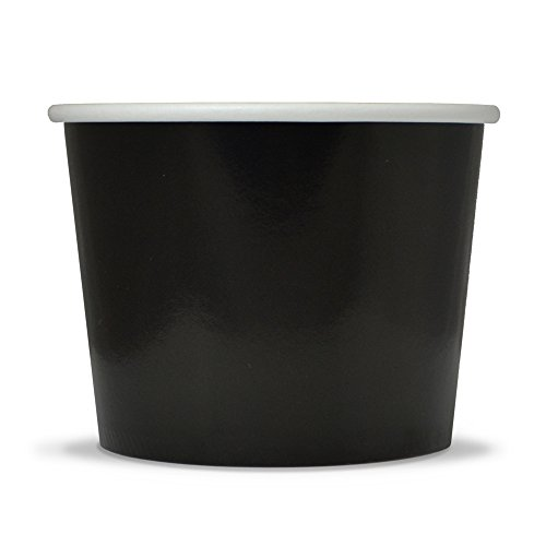Black Paper Dessert Cups - 12 oz Disposable Ice Cream Bowls - Perfect For Your Yummy Foods! Many Colors & Sizes - Frozen Dessert Supplies - Fast Shipping! 50 Count
