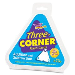 Subtraction Three Corner - Addition/Subtraction Three-Corner Flash Cards, 6 & Up, 48/Pack by 5COU