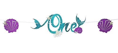2018 New Design, Cute, Sparkle Glitter, Mermaid Style Bunting Banner, Mermaid Party Supplies Decorations, For Mermaid Themed Birthday Party, Anniversary Party Decorations (One)