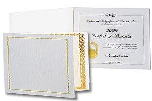 Ivory Certificate Folder frame w/gold foil border and acetate cover sold in 10's - 8.5x11