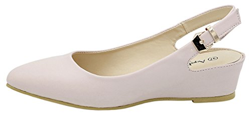 Couleur Unie Ageemi Shoes Femmes Pointed Toe Escarpins Court Abricot Chaussures SOFqnTFP