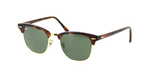 Ray Ban Clubmaster Sunglasses RB3016 W0366 Havana//Green 51mm - Ban Clubmaster Ray White