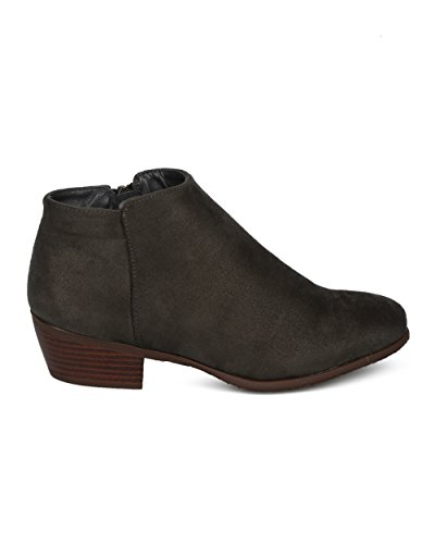 Alrisco Women Low Heel Bootie - Basic Stacked Heel Ankle Boot - Casual Dressy Everyday Versatile Bootie - HE00 by Refresh Collection Olive Faux Suede Wpi4iC7n