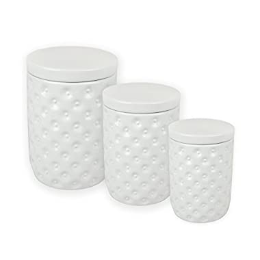 DII Everyday Classis Kitchen Design 3-Piece Ceramic Nested Canisters For Sugar, Coffee, & Tea - White