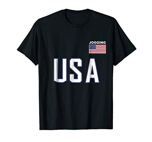 USA Flag Jogging T-Shirt Cool Pocket Runner Jersey Top Tee (One Pocket Marathon Top Unisex)