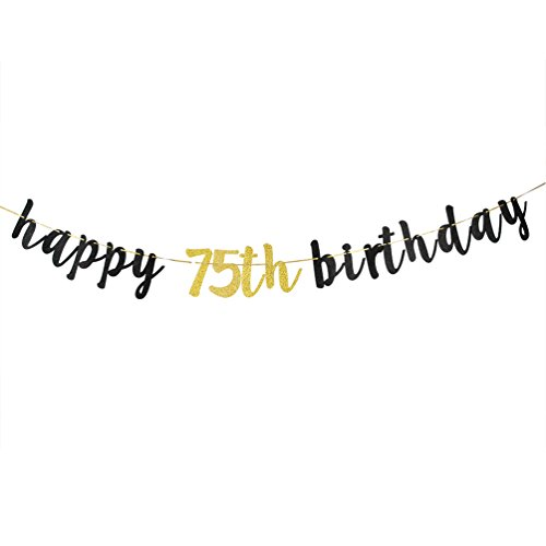 Happy 75th Birthday Banner, Black Glitter 75th Birthday Party Decoration Sign