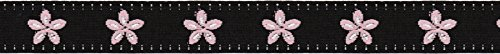 Offray Jacquard Daisy Craft Ribbon, 5/8-Inch x 9-Feet, Black & Pink