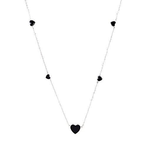 Endearing Silver Tone Designer Necklace with Jet Black Faux Onyx Heart Pendant & (Silver Tone Jet Stone)