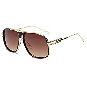 BEUU Men'S And Women'S Box Sunglasses Women Men Fashion Quadrate Metal Frame Brand Classic (D)