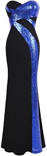 Angel-fashions Mujer Sin Tirantes Novio Cruzado Clasico Negro Blanco Vestido de Noche Azul Marino