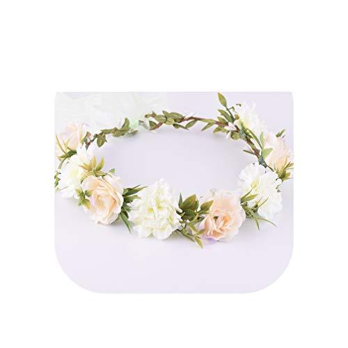 Flower Crown Headband Headwear Bridal Fabric Flower Crown Wedding Hair Accessories Headbands Floral Head Wreath,2