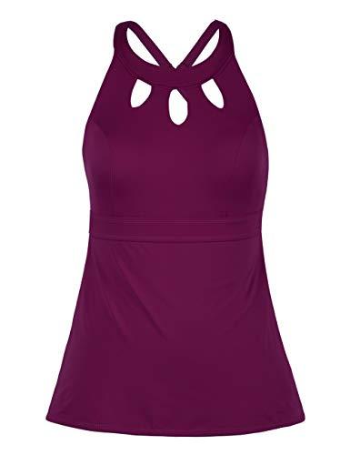 Septangle Women's Black Halter Tankini Top Cross Back Bathing Suit (Fuchsia, US 16)