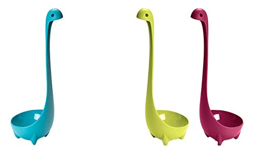 RioRand Soup Ladle 3 Piece Nylon Dishwasher Safe Kitchen Utensil Cookware Loch Ness Monster, Green, Blue and Pink