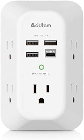 311lizQf%2ByL. AC USB Wall Charger, Surge Protector, 5 Outlet Extender with 4 USB Charging Ports ( 1 USB C Outlet) 3-Sided 1800J Power Strip Multi Plug Outlets Wall Adapter Spaced for Home Travel Office, ETL Listed    Product Description