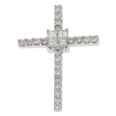 Pendentif-Croix-diamant 0.32cts-Or blanc 14carats