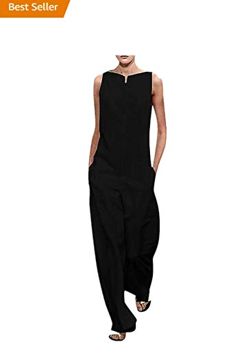 Hurrybuy Women Cotton Linen Bib Overalls Jumpsuits Casual Loose High Neck Sleeveless Baggy Wide Leg Pants Rompers Plus Size Black
