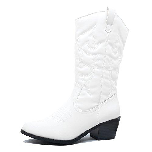 West Blvd Miami Cowboy Western Boots, White Pu, 9