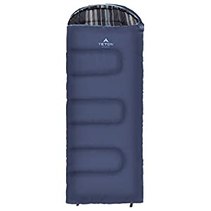 TETON Sports Celsius Junior Kids Sleeping Bag; Perfect for Camping, Traveling, and Sleepovers; Start Their Camping Experience Off Right; Sleeping Bag; Blue/Stripe Liner, Left Zip