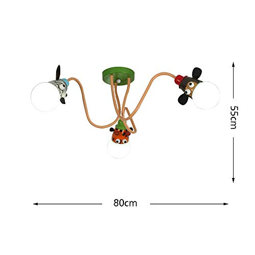 (JZX Cartoon Monkey Zebra Giraffe Ceiling Light Modern Simple Led Animal Glass Shade Children Room Indoor Lighting Living Room Bedroom Study Entrance Villa Fixture 220/240W)
