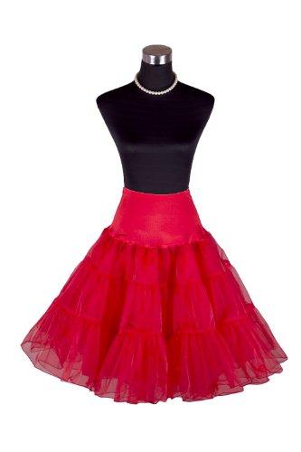 """Flora Women's 50s Vintage Rockabilly Petticoat, 25"""" Length Net Underskirt (Large-Xlarge, Red)"""
