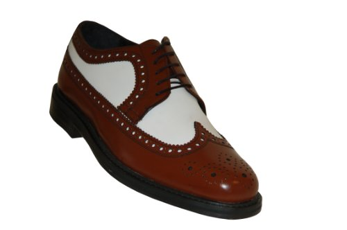 Brown and White Wingtips Vintage Style Two Tone Brogue Spectator Shoes (10M, Brown/White) -