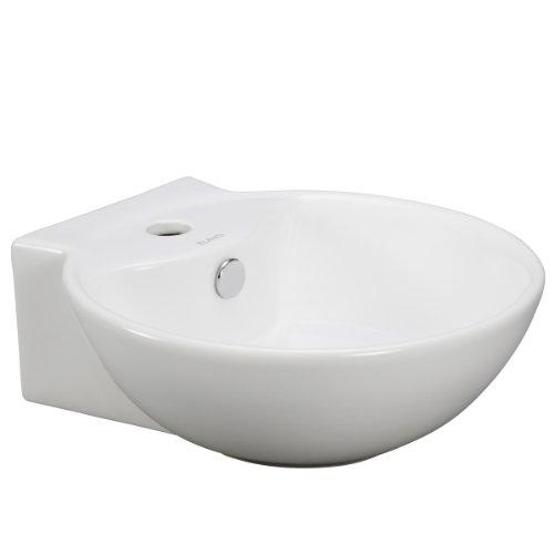 Elanti Collection EC9819 Porcelain Wall-Mounted Deep Bowl Sink, 17 x 17.2 x 6 Inches), White ()