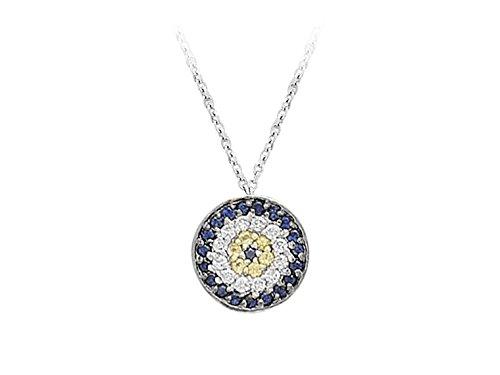 Pendentif Mauvais Œil Saphir et Diamants-Femme- or Blanc 214P0015