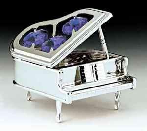 (Piano Silver Plated Swarovski Crystal Ornament Figure)