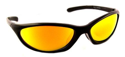 Optic Edge Wrap Frame Voodoo Sunglasses, Black, Blue Mirror - Voodoo Sunglasses