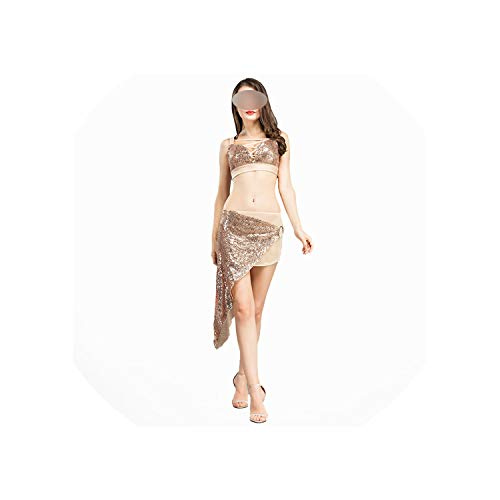 Belly Shinning Two Piece One Suit, Sequin Set, Metal Buckle Suit: Bra & Skirt -