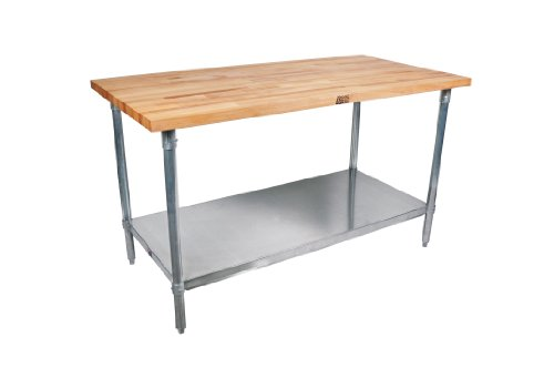 John Boos Work Table with Commercial Blended Maple Top, Stainless steel base and shelf, 48'' W x 30'' D x 35-1/4'' H by John Boos