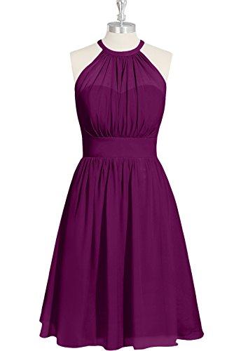 Ivydressing Weinrot halter A Einfach Ballkleid Damen aermellos Neck Abendkleid Chiffon Festkleid Partykleid Linie Mini 4qA4rxZOwn