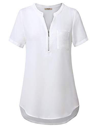 Timeson Blouses for Women Short Sleeve, Ladies Dressy Tops Business Shirts for Women for Work Chiffon Blouses with Collars Office Wear Lightweight Elegant Tops for Summer White X-Large