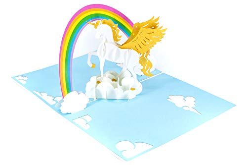 (PopLife Rainbow and Unicorn 3D Pop Up Mother's Day Card - Birthday Pop Up Card, Baby Shower Gift, Get Well - Fold Flat for Mailing - for Mother, for Daughter, for Wife, for Granddaughter, Mom, Sister)