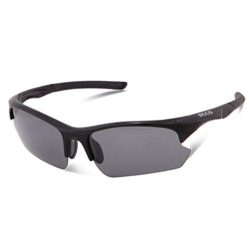 DUCO New Polarized Sports Sunglasses for Running Cycling Fishing Golf TR90 Unbreakable Frame 6188 (Silver Frame Revo Gold - Sunglass Sayings