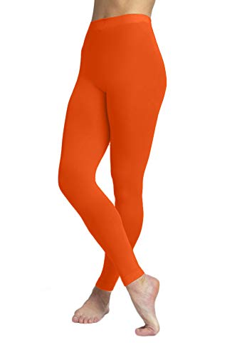 - EMEM Apparel Women's Ladies Solid Colored Seamless Opaque Dance Ballet Costume Full Length Microfiber Footless Tights Leggings Stockings Neon Orange C
