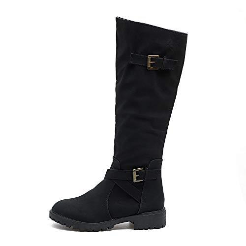 HYIRI High Knee Boots,Womens Calf Biker Boots Ladies Zip Punk Military Combat Army Boots