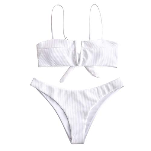 ZAFUL Swimwear V-Wired Ribbed Textured Tie Knot Back Padded Bikini Thong Two Piece Swimsuits White S