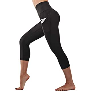 S-DCYCLE Out Pocket High Waist Yoga Pants,Tummy Control,Pocket Workout Yoga Pant (Black, L)