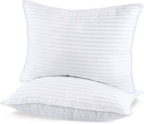 Utopia Bedding (2 Pack) Premium Plush Gel Pillow - Fiber Filled Bed Pillows - Queen Size 20 x 28 Inches - Cotton Pillows for Sleeping - Fluffy and Soft Pillows