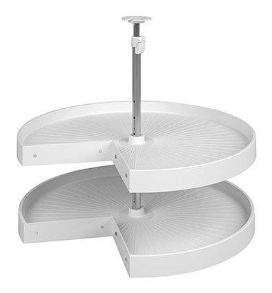 Lazy Susan, pie cut set, with telescopic post, 2 shelf, plastic, white, 18