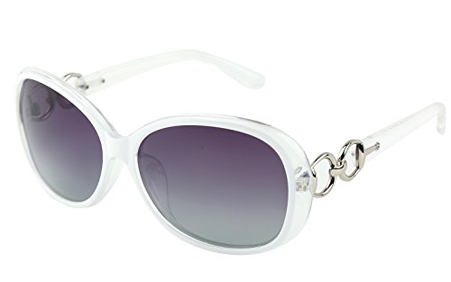 Beison Classic Women's Shades Oversized Glasses Polarized Sunglasses UV400 (White frame / Gradient purple, - Or Polarised Not Sunglasses