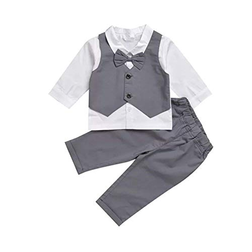 Gubabycci Infant and Toddler Baby Boy Gentleman 2pcs Long Sleeves Formal Party Wedding Suits Outfits by Gubabycci