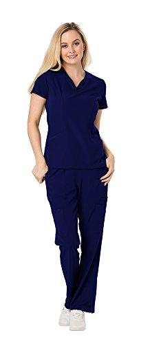 (HeartSoul Women's Heart Zips a Beat Zippered V-Neck Top HS650 & Break Free 5 Pocket Flare Leg Pant HS020 Scrub Set (Navy - X-Small/Small))