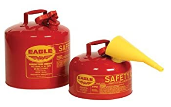 "Eagle Ui-50-fs Red Galvanized Steel Type I Gasoline Safety Can With Funnel, 5 Gallon Capacity, 13.5"" Height, 12.5"" Diameter 1"